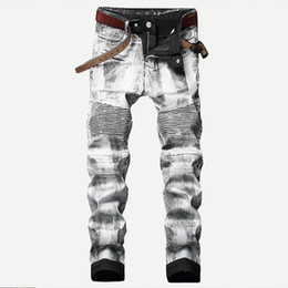 85e6fd16 MORUANCLE Fashion Men's Coated Biker Jeans Pants Gold Silver Pleated  Motorcycle Denim Trousers For Male Plus Size 28-40 Straight