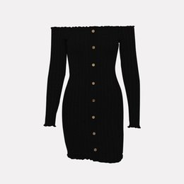 $enCountryForm.capitalKeyWord UK - 2019 New Fashion popular women's Spring fashion explosive one-word collar, long sleeve, shoulder-exposed, solid-color pin-button dress