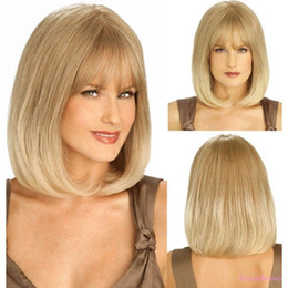 blonde wig full bangs Australia - Blonde Ombre Women Bob Remy Hair Straight Full Synthetic Wigs Daily Wear Bangs