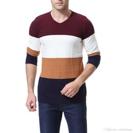 knitted wear jumpers UK - Men's Sweater Patchwork Striped New Autumn Winter Pullover Men Sweaters Wool Casual O Neck Sweater Jumpers Homme Knitting wear J181196