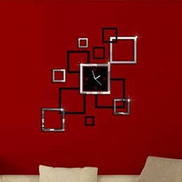 mirror watches NZ - 3D Modern Square Wall Clock Art Watch Mirror Surface Sticker Home Decor DIY New