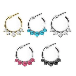 Punk Rings Australia - Punk Nose Ring Rhinestone Nose Ring Fake Septum Piercing Hanger Clip On Body Jewelry Nose Hoop Septum 1 Pcs 5Colors