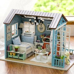 $enCountryForm.capitalKeyWord Australia - Doll House Diy Miniature Dollhouse Model Wooden Toy Furnitures Handmade House For Dolls Toys Romantic Birthday Gift For Children Y19070503