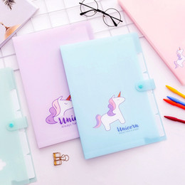 office filing supplies Australia - Cute Unicorn Transparent Button Organ Bag Document Multilayer Storage Pouch Package For A4 Paper File Folder Office Supplies