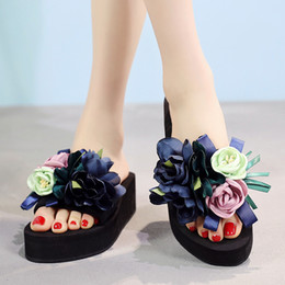 d06b7d7c8 womens Slippers Flower DIY personalized Flip Flops Beach Platform Fashion  Sandals Wedges Shoes size 35-42 LOW heel 5cm