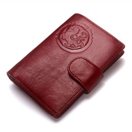 short chain designs Canada - Genuine Leather Women Passport Holder Female Purse Travel Wallet Men Portomonee Short Wallets Card Holder Passport Cover Nice Design AL003