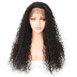 Highest Quality Human Hair Wigs Australia - Unprocessed fashion high quality 100% human hair wigs Kinky Curly black full lace wigs with elastic lace cap with weaving cap free shipping