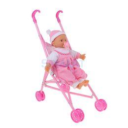 $enCountryForm.capitalKeyWord NZ - Lifelike Baby Fun Play Pretend Furniture Toy Toddler Baby Doll with Folding Stroller Kids Play House Toy Children Birthday Gift