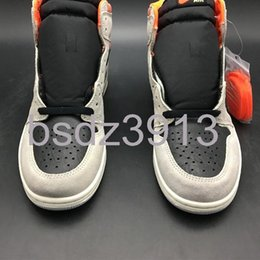 shoes kicks NZ - Air 1 High OG Neutral Grey 555088-018 1s I Kicks Men Basketball Sports Shoes Sneakers Top Quality Trainers