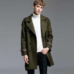 $enCountryForm.capitalKeyWord Australia - Minglu Mens Coats Luxury Wool Double Breasted Thick Mens Jackets And Coats Autumn Winter Army Green Long Style Man Trench