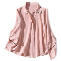 9190b0ac982e61 Pink White Black Blouse 2019 Spring Summer Fashion Office Blouse Women  Turn-down Collar Color Block Embroidery Silk Shirt