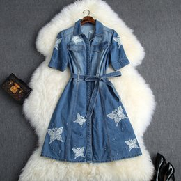girl dresses blue embroidery Australia - Women Girls Cute Butterfly Embroidery Denim Jeans Dress Short Sleeve Sashes A-line Mini Dresses 2019 Summer Blue