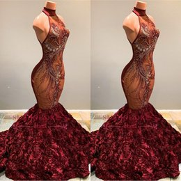 Crystal floral piCks online shopping - 2019 New Burgundy Halter Lace Mermaid Prom Dresses Illusion Applique Beaded D Floral Flowers Sweep Train Evening Gowns Vestidos BC1181