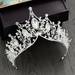 Weddings Hair Styles Australia - Handmade Luxury White Baroque Style Crystal Bridal Crown Tiara Wedding Hair Ornaments Accessories Headpieces Women Party Prom 35 C18112001