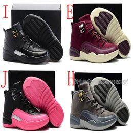 Pink Grey Basketball Shoes Australia - New Arrival Boys & Girls 12s Purple Kids Summer Basketball Shoes Childrens Pink Blue Dark Grey Toddlers Sneakers Eu 30-35 Chaussures Enfant