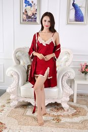 Silk Red Dress For Women Australia - Nightgown Sexy silk Night Gown Nightdress Bridesmaid Robes Home Dress Sleepshirt Nightwear for Women