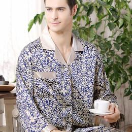 f4ce024d6b Mens Satin Pajamas Australia - Spring Autumn Mens Silk Satin Pajama Set  Pajamas Long-sleeved