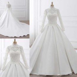 $enCountryForm.capitalKeyWord NZ - White Lace Wedding Dresses High Neck Long Sleeve With Appliques Beaded Illusion Back With Zipper Bridal Dresses Elegant Wedding Gowns