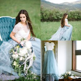 short sleeve fairy wedding dress Australia - Cheap Fairy Boho Lace Wedding Dresses A Line Tulle Cap Short Sleeves Light Blue Skirts Plus Size Beach Bridal Gown Vestidos De Novia