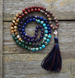 $enCountryForm.capitalKeyWord Australia - 7 Chakra Mala Unique 8mm Natural Stone Long Tassel Necklace Women Meditation Necklace Knotted Bead Yoga Necklace Jewelry J190711