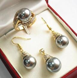 $enCountryForm.capitalKeyWord Australia - Wedding noble new jewelry 12mm shell pearl pendant, earring, , ring set