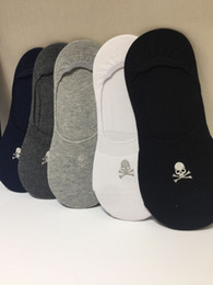 $enCountryForm.capitalKeyWord NZ - Skull embroidered stealth boat Casual Socks Sports ankle socks for Women men Breathable Socks Clothing Underwear 5pairs