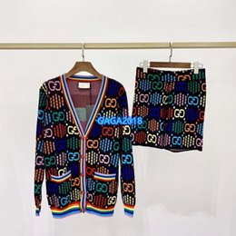 Wholesale rainbow knit sweater for sale – oversize high end women girl knit sweater jacket rainbow interlocking letter single breasted long sleeve cardigan shorts pant fashion design knitwear