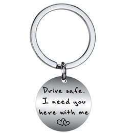 $enCountryForm.capitalKeyWord NZ - 12 PC Wholesale Drive Safe I Need You Here With Me Heart Couple Lover Women Men keychain Family Friend Stainless Steel Key Ring