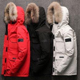 Toptan satış Erkekler Hoodie Pamuk Ceket Ayrılabilir Kürklü Yaka Çoklu Cepler Kış Kalınlaşmak Palto Isınma