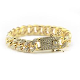 Hip Hop cuban online shopping - 2019 hot sale Hip Hop Iced Out Bling CZ Men Bracelet fashion cm long Miami Cuban Link bracelets male Hiphop jewelry gifts
