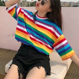 oversized tee women UK - Oversized T Shirt Women Striped Half Sleeve Tshirt Fall Clothes For Women Casual T-shirt Tops Womens Clothing Tee Shirt Femme