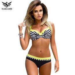 Swimwear Push Ups Australia - Nakiaeoi Sexy Push Up Women Swimsuit Plus Size Swimwear Print Patchwork Bikini Set Bathing Suit Beach Wear Swimming Q190518