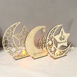 laser cut package Canada - Ramadan Holiday Home Furnishing decoration Wooden moon led ornament laser cutting PP bag Independent packaging drop shipping
