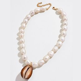 freshwater shells 2020 - bohemian natural real big Cowrie shell pendant choker necklace women freshwater baroque keshi statement pearl necklace j