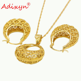 China wholesale Fashion PNG Ethnic Jewelry Gold Color Necklace Earrings Pendant for Women Arab African Birthday Party Gifts N11016 cheap arab gold pendant suppliers