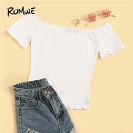 Wholesale White Off The Shoulder Short Sleeve Lettuce Trim Rib Knit Slim Fit Tops Tee Women Elegant Black Slash Neck Solid T Shirts
