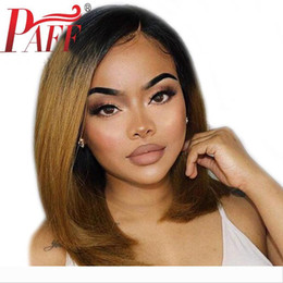 tone hair color lace fronts Australia - PAFF Bob Human Hair Lace Front Wigs Short Ombre Color Side Part Brazilian Remy Hair Wig Two Tone Pre Plucked With Baby Hair