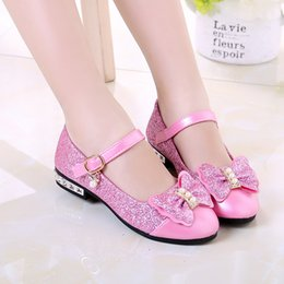 $enCountryForm.capitalKeyWord NZ - Girls Shoes 2019 Spring Girls Flat Fashion Bow Sequin Bead Children'S Dance Princess Leather Shoes 3 5 6 7 8 9 10 11 12 Year Old