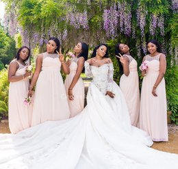 chic sheath wedding dresses 2019 - 2019 Chic Chiffon Bridesmaid Dresses Beaded Sheer Scoop Collar Blush Pink Wedding Party Dresses For African Women Maid O