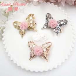 $enCountryForm.capitalKeyWord Australia - 15pcs  3c Fashion Glitter Cute Butterfly With Pom Pom Ball Hairpins Kawaii Sequin Animal Girls Hair Clips Headware Accessories