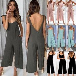 9fa6f507d290 Gallus Siamese Trousers Women Fashion V-Neck Shaped Long Wide Leg Pants  Lady Elegant Solid Color Jumpsuit LJJV164
