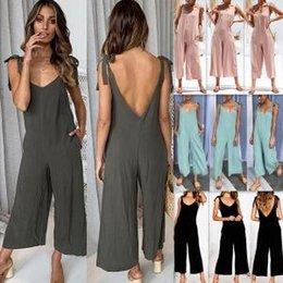 f75c3dd90b Wide leg elegant pant jumpsuit online shopping - Gallus Siamese Trousers  Women Fashion V Neck Shaped