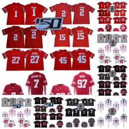 150 TH Ohio State Buckeyes 1 Justin Fields 2 Chase Young 7 Dwayne Haskins Jr 45 Archie Griffin 97 Nick Bosa 15 Elliott NCAA Football Jerseys on Sale