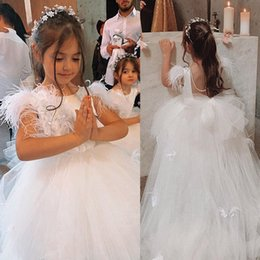 Soft pink gown online shopping - Lovely White Flower Girls Dresses For Wedding Feather Pearls Sleeveless Girls Pageant Dress Soft Tulle First Communion Gowns