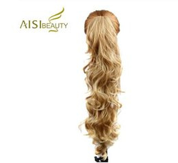 auburn ponytail hairpiece NZ - 22inches Long Wavy Synthetic Claw Clip Ponytail Hair Extensions can be curled High Temperature Fiber Hairpieces for Women