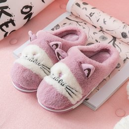 female home slippers Australia - Nice New Lovely Women Flip Flop Cute Cat Shape Home Floor Soft Stripe Slippers Female Shoes Girls Winter Spring Warm Shoes