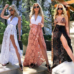 876099dc21 2018 New Women White&Black Lace Beach Skirt Sexy Women Bikini Cover Up  Swimwear Sheer Beach Maxi Wrap Skirt Sarong Pareo Dress