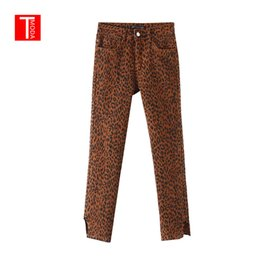 2019 Spring Women Leopard Print Denim Jeans Animal Pattern Pockets Stretchy Female Chic Ankle Length Trousers Pantalones Mujer