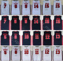 0803c590cae 1992 US Team One Basketball 12 John Stockton Jersey Navy Blue White 4  Christian Laettner 11 Karl Malone 13 Chris Mullin 15 Johnson American