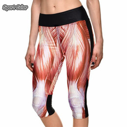 yoga pants designs 2019 - New Popular High Waist Women Mid-Calf Leggings Sexy Girls Fitness Yoga Cropped Trousers Elastic Muscle Design Breathable